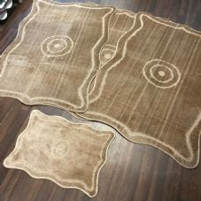 ROMANY GYPSY WASHABLE MATS FULL SET OF 4 MATS/RUGS XXLARGE 100X140CM DARK BEIGE